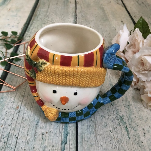 Snowman mug coffee cup blue yellow holiday cocoa